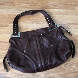 B Makowski Drk Brown Leather Shoulder Bag